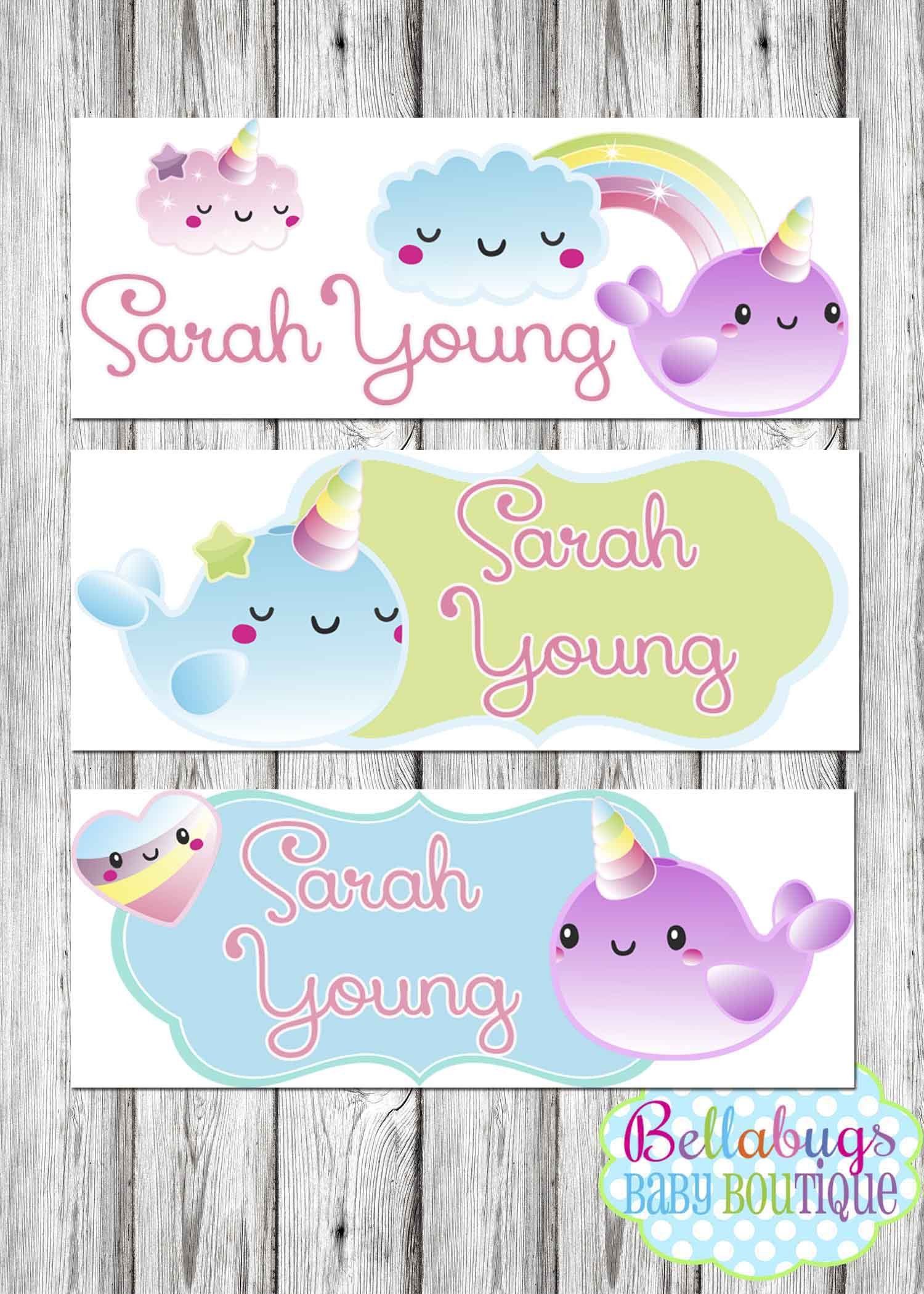 eb0cb9b2df5f Narwhal Unicorn Name Labels - 30 Labels - Daycare Labels - School ...