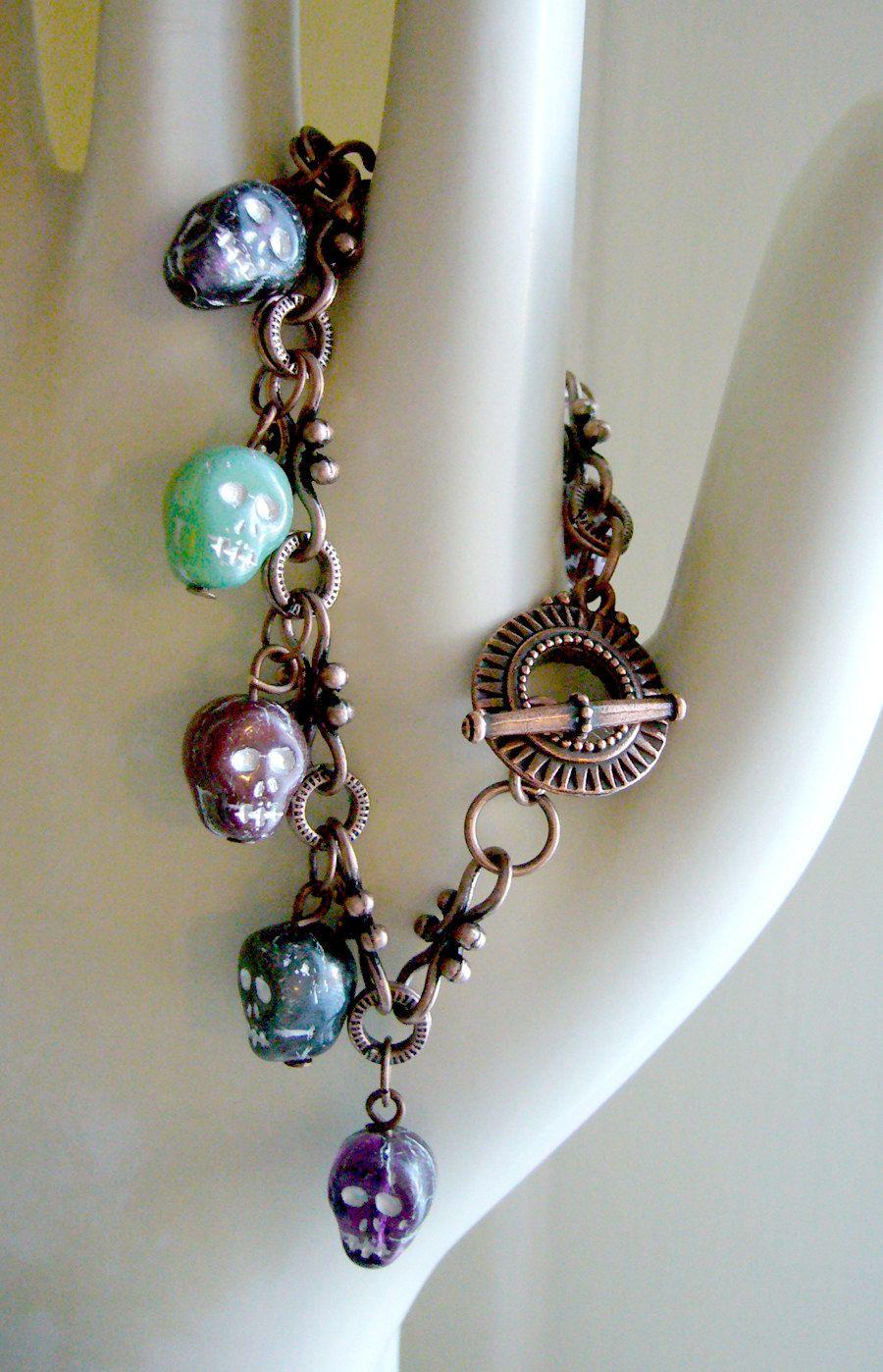Tattoo accessory seven skulls charm bracelet memento mori day of