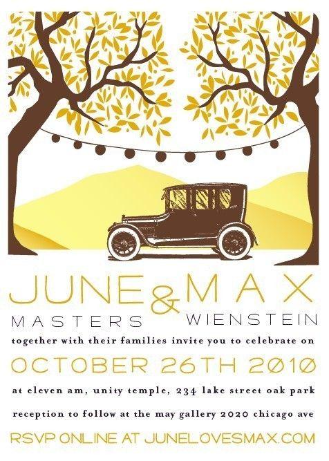 Wedding Invitation - Antique car - $2500, via Etsy Wedding - fresh invitation wording reception