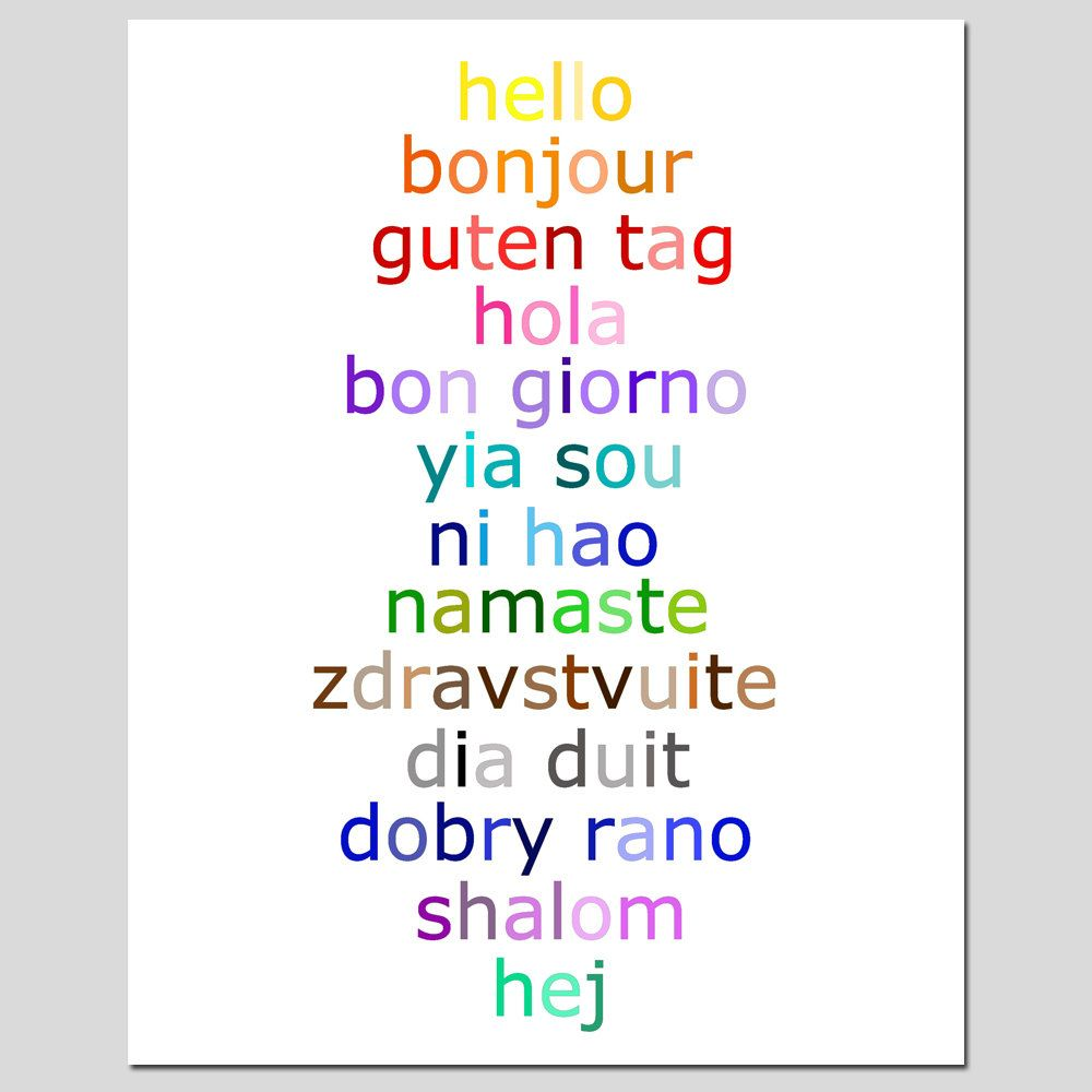 Hello   8x10 Typography Print with Hello in Different Languages   Choose  Your Colors   Shown. Hello   8x10 Typography Print with Hello in Different Languages