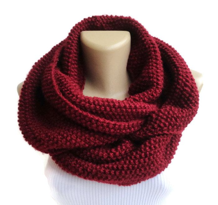 burgundy Knit Scarf Winter Scarf Women Knit Infinity Scarf Scarves Men Scarf  Women Christmas Gifts For Her Holiday Fashion senoaccessory