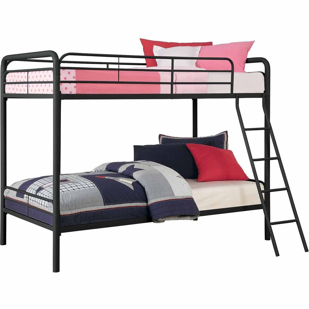Twin Over Metal Platform Bunk Bed Frame Furniture Black Bunkbed