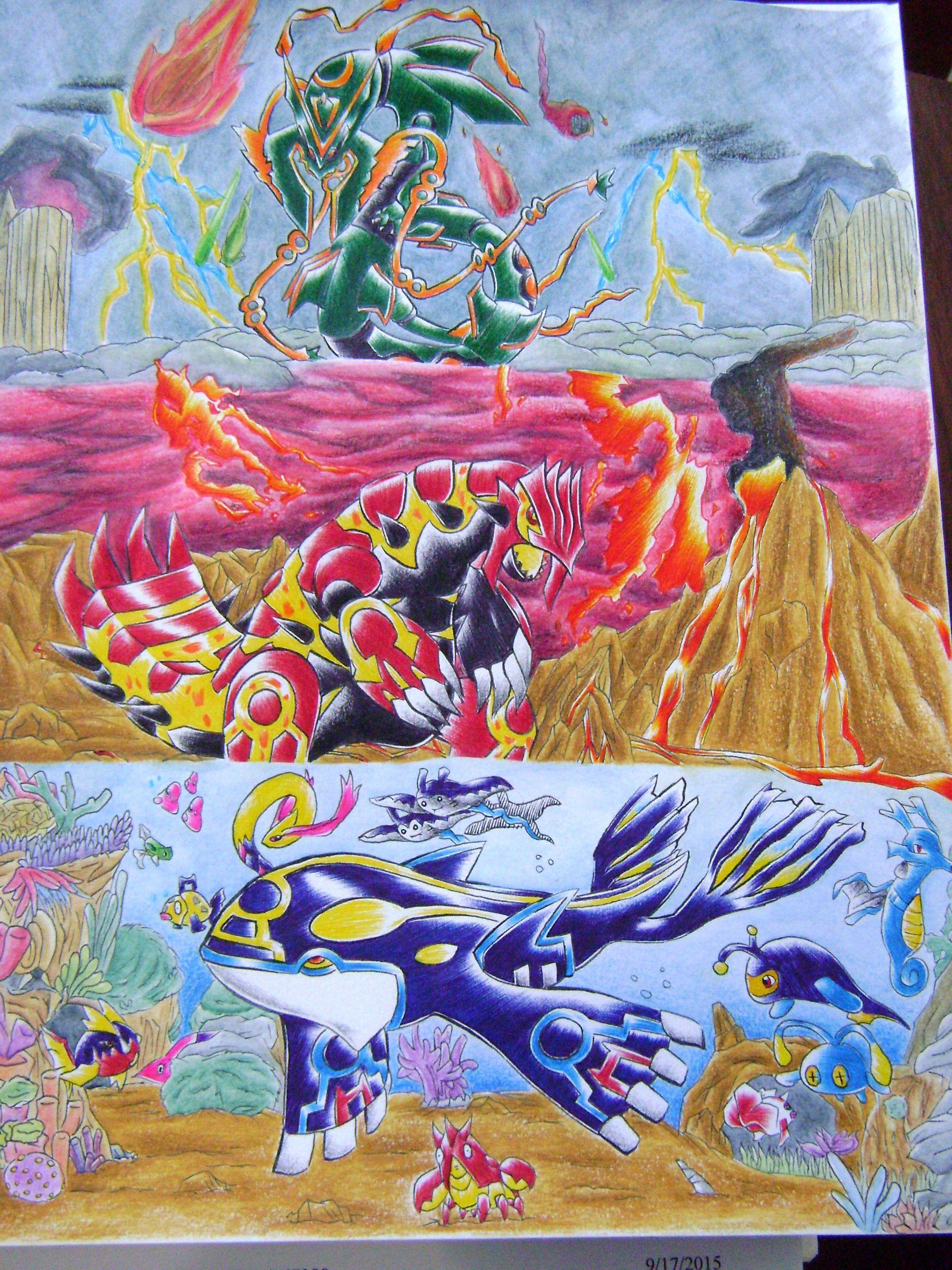 Mega rayquaza, primal groudon, and primal kyogre fanart. # ...