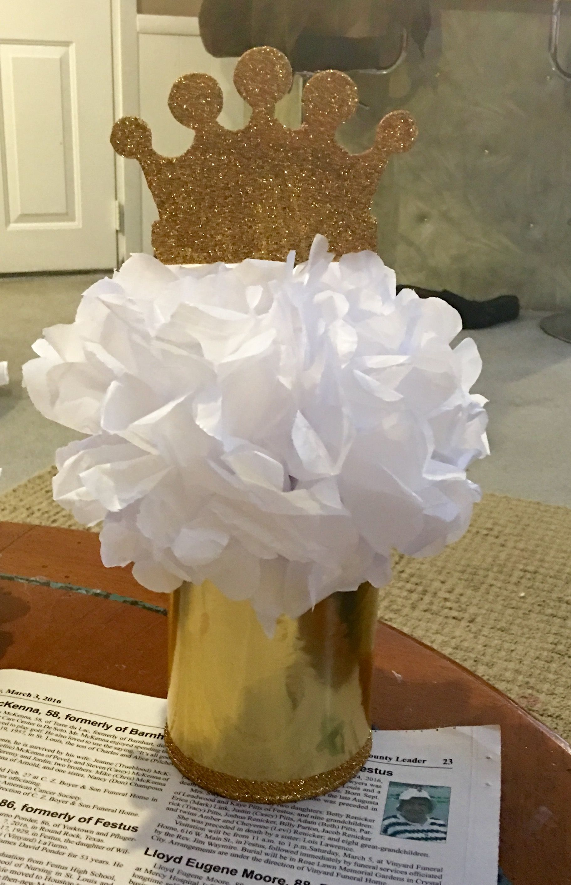 Centerpieces made from old formula cans tissue paper and