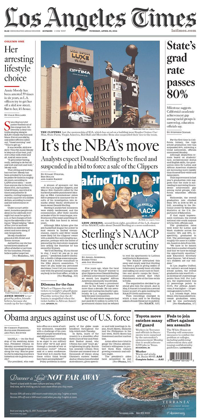 Newseum Today S Front Pages Los Angeles Times Donald Sterling Newspaper Layout La Times