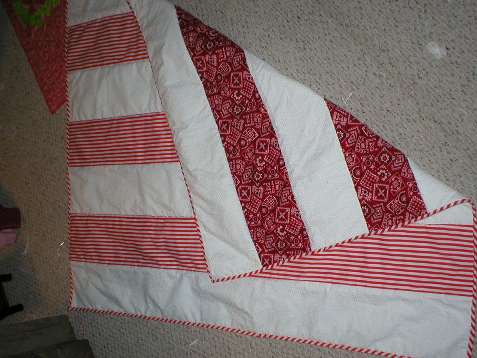 candy stripes- reversible- quilt as you go.