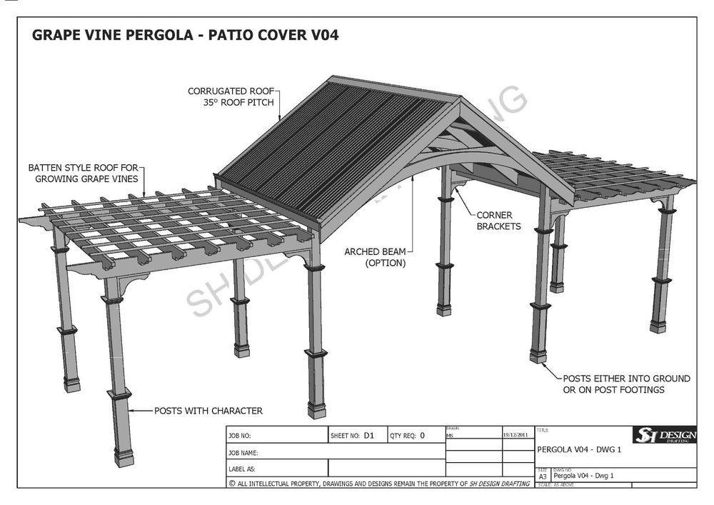 Photo of Details about GRAPE VINE OUTDOOR PERGOLA – PATIO COVER VERANDA V4 – Full Building Plans