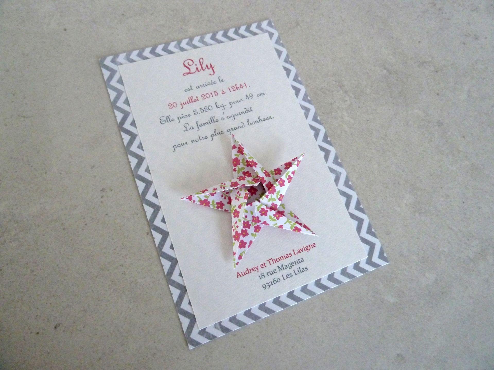 faire part de naissance bapt me carte de remerciement toile en origami pour fille fleurs. Black Bedroom Furniture Sets. Home Design Ideas
