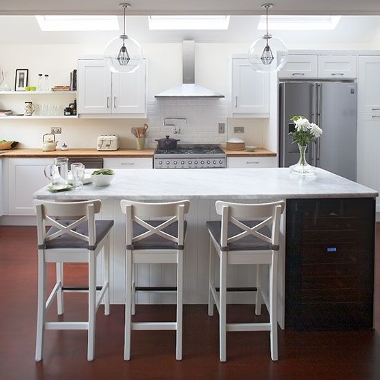 Modern white Shaker kitchen with breakfast bar  Kitchen decorating Ideal Home Housetohome