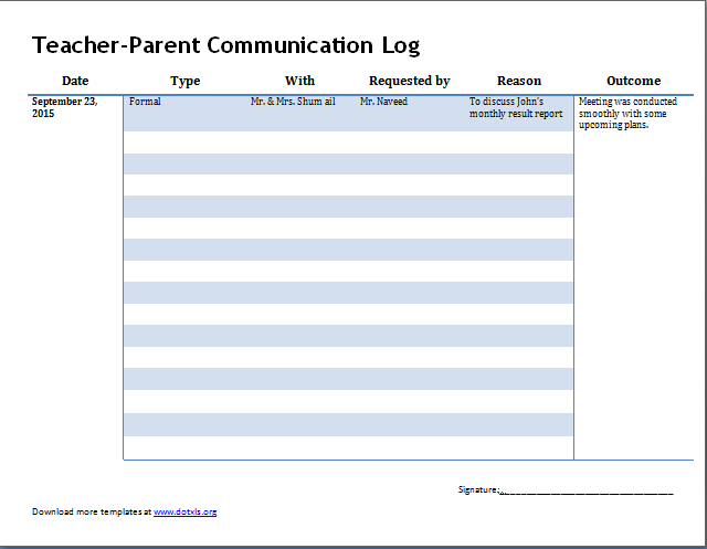Parent Teacher Communication Log  Word  Excel Templates  Parent