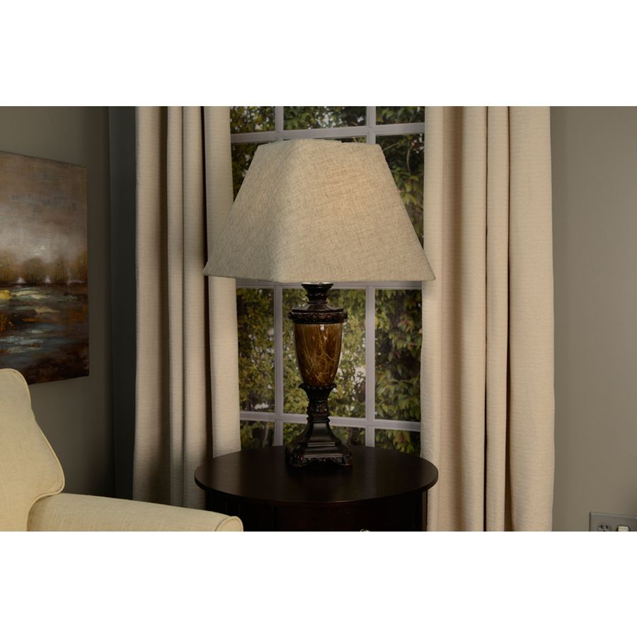 Allen Roth 12 In X 15 In Tan Linen Fabric Square Lamp Shade At