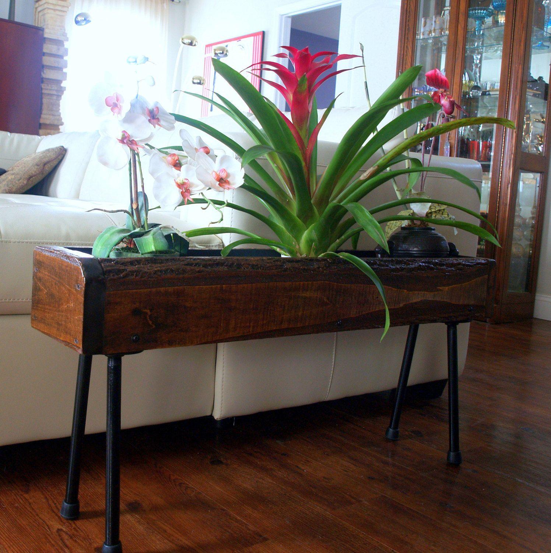 Urban Rustic Industrial Planter Box Table Unfinished Natural Edge Custom Designed Handmade