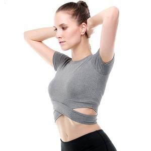08f9181478a Criss-Cross Short Sleeve Crop Workout Top in 2019 | Workout Outfits ...
