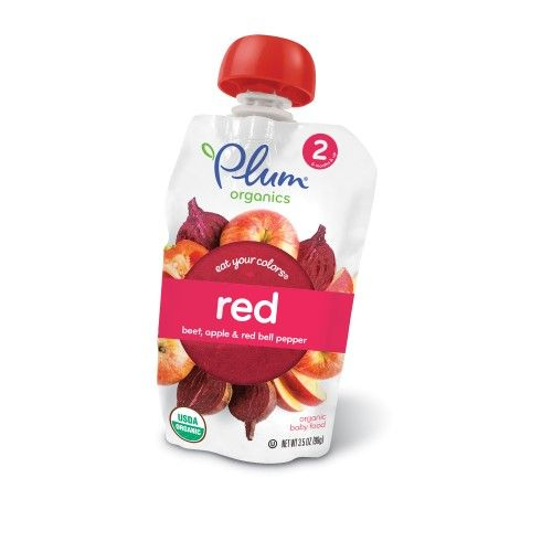 plum organics eat your colors red stage 2 beet apple red bell