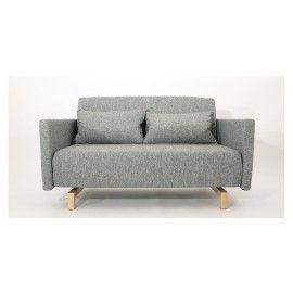 Canapé Convertible Design Stockholm Gris 135 cm Piètement Bois - Mobilier SoDezign - Face