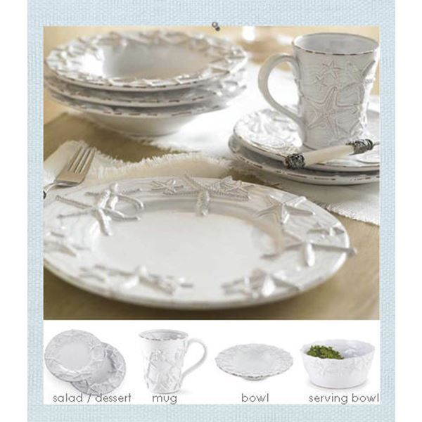 Our Starfish Dinnerware Was Created In A Distressed Style For More Casual Beach Cottage Placesetting