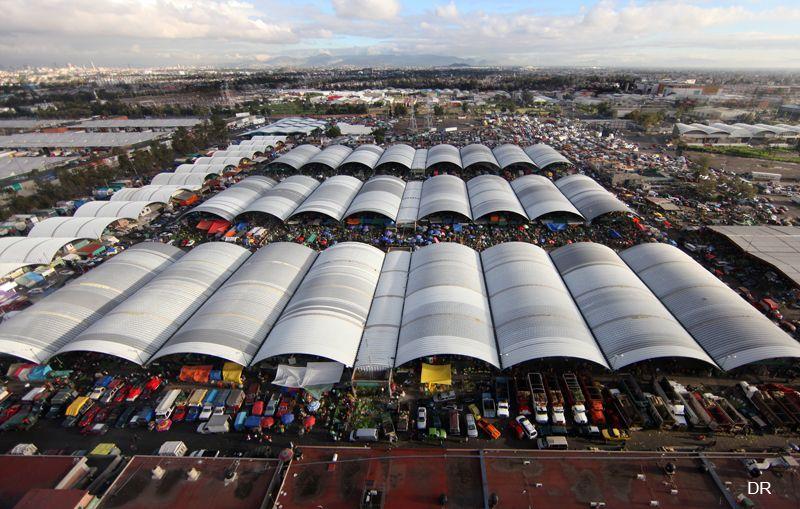 Central de abastos mexico city floral market air view