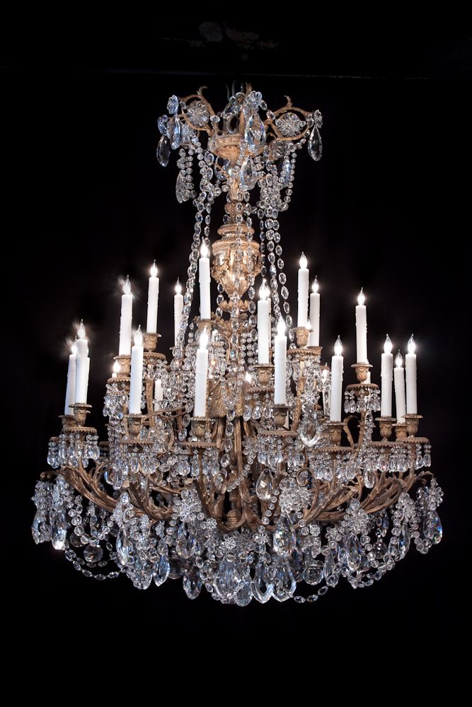 LA-5111  56''H 42''Diam  French Louis XVI style dore bronze and crystal. 19th century. 32 lights