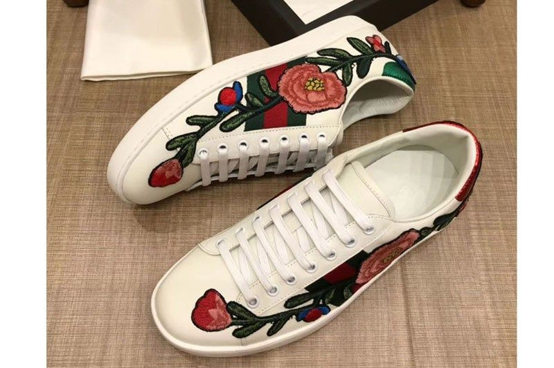 Gucci 431917 Ace Embroidered Sneaker Embroidered Floral White Leather Mens And Women Size Ireplicabags Replica Louis Vuitton Bags Wallets Shoes Belts Et White Leather Floral White Leather