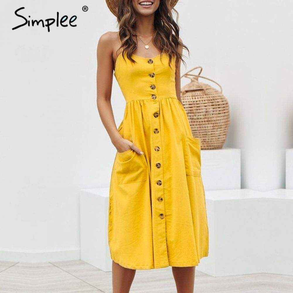 4b5d079129790 Simplee Elegant button women dress Pocket polka dots yellow cotton ...
