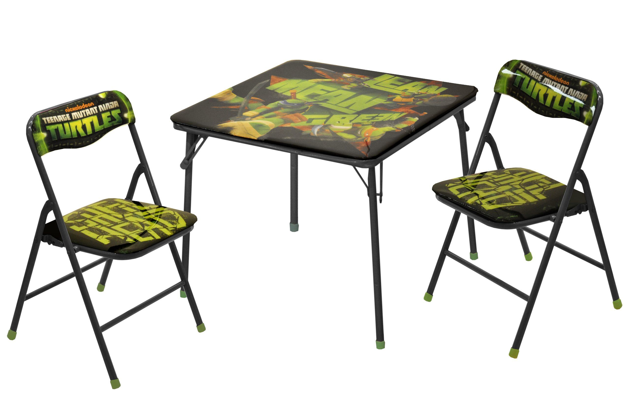 """Nickelodeon Teenage Mutant Ninja Turtles Table and Chair Set (3-Piece). Unique Nickelodeon Teenage Mutant Ninja Turtles design. Easy to clean and store. Set includes two folding chairs and one folding table. Chair capacity is 81 lbs. Table dimensions: 24""""L x 24""""W x 20""""H."""