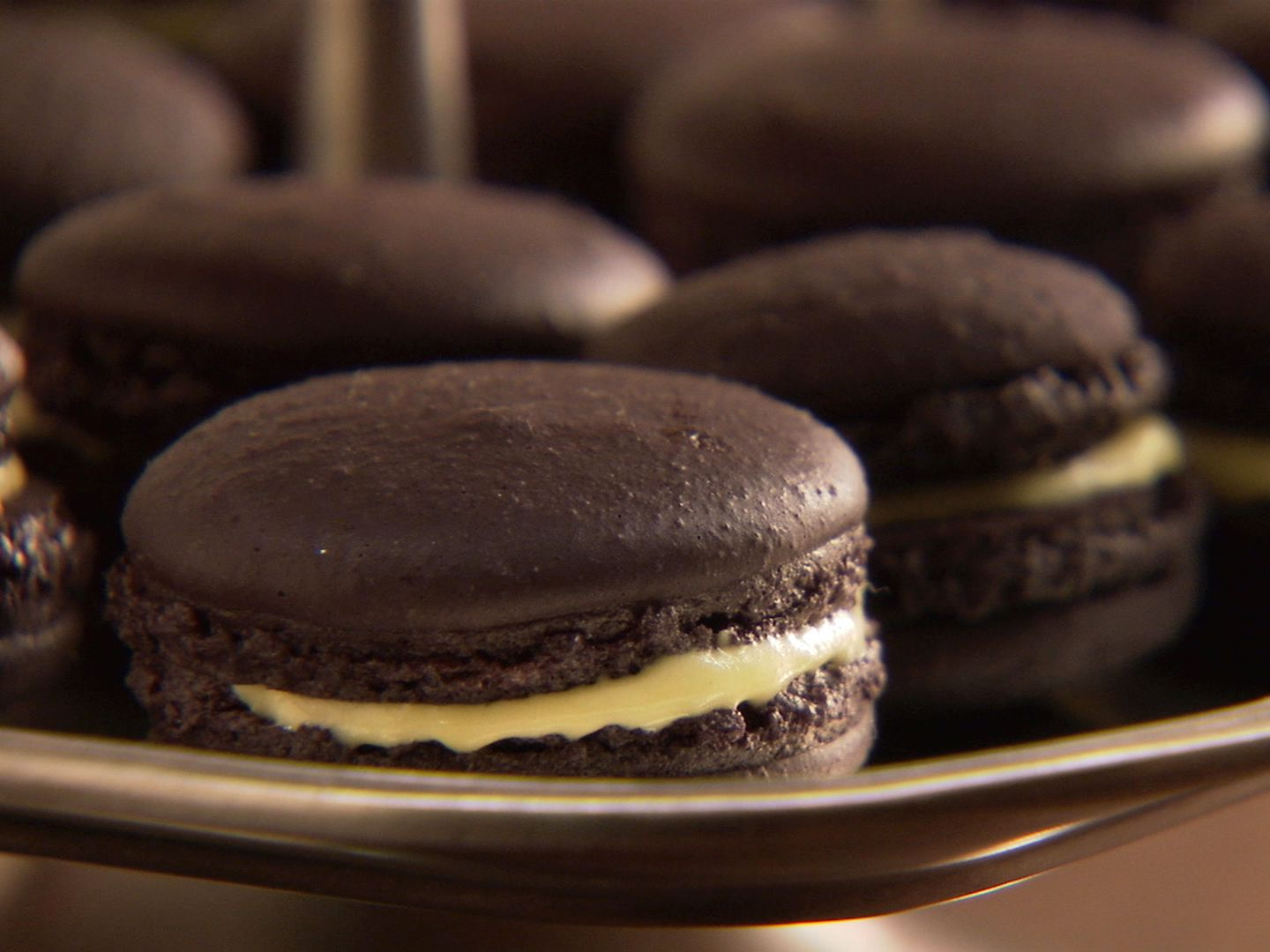 Black Macarons From Cookingchanneltv Com Macaron Recipe Food Network Recipes Food