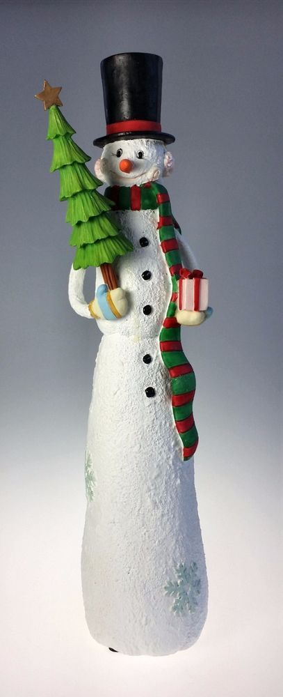 Fitz and Floyd Snow Family Large Tall Taper Candle Holder Snowman