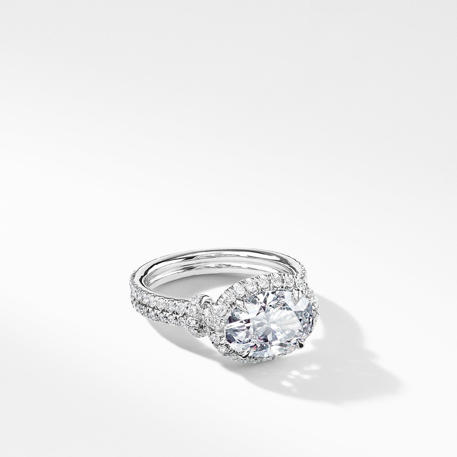 Dy Astor Engagement Ring With Diamonds In Platinum Oval