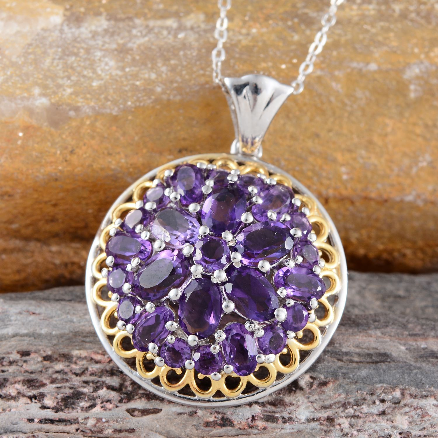 Amethyst Pendant with Chain in 14K Yellow Gold and Platinum Overlay Sterling Silver (Nickel Free)