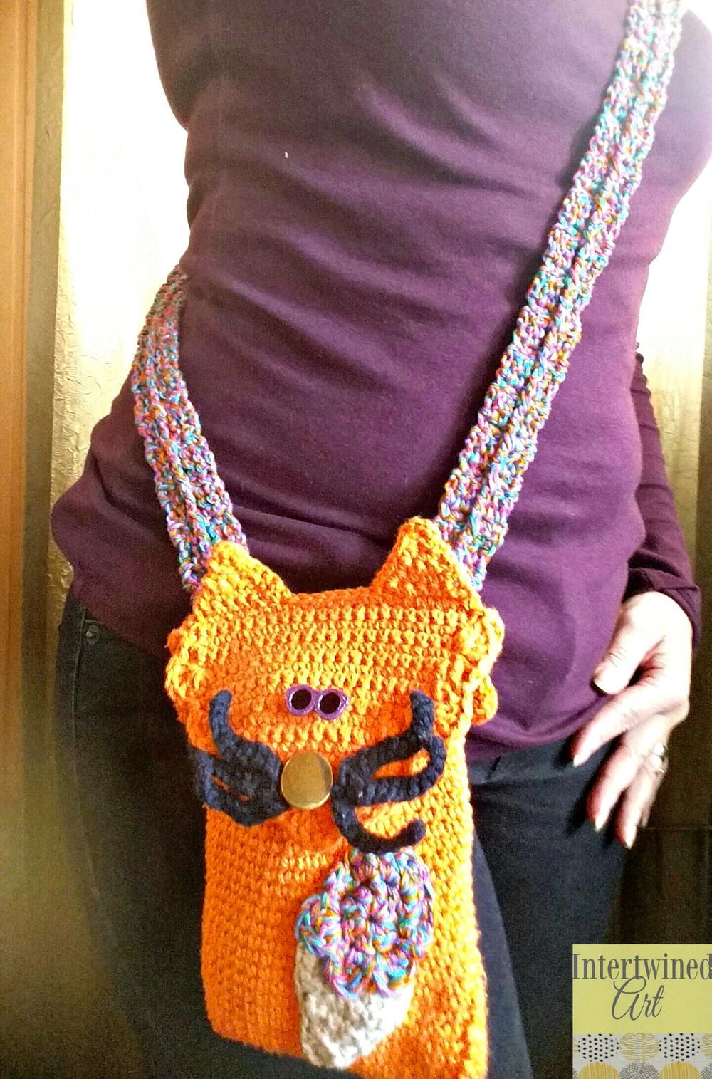 "Sherbert"" the Cat Crochet Mini Hipster Crossbody"