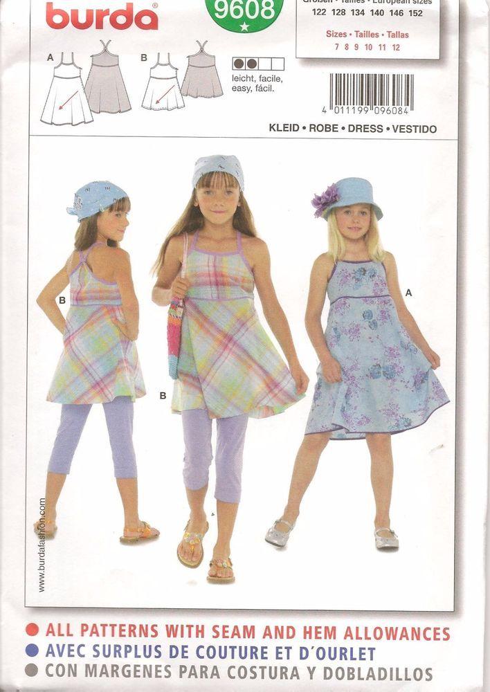 Burda Easy 9608 Girls Summer Dress Sewing Pattern Size US 7-13jun ...