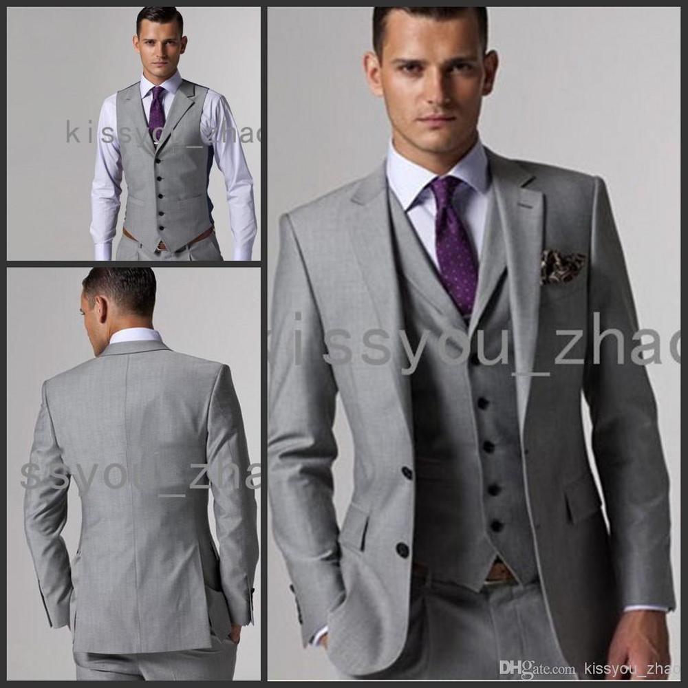 Top Selling Pretty Custom Made Slim Fit Groom Tuxedos Light Grey ...
