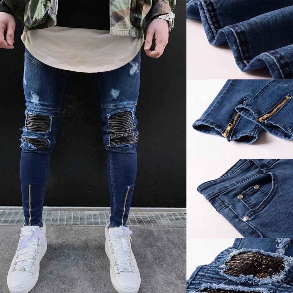 Men/'s Blue Denim Hip Hop Ripped Retro Embroidered Trousers Casual Pants Size