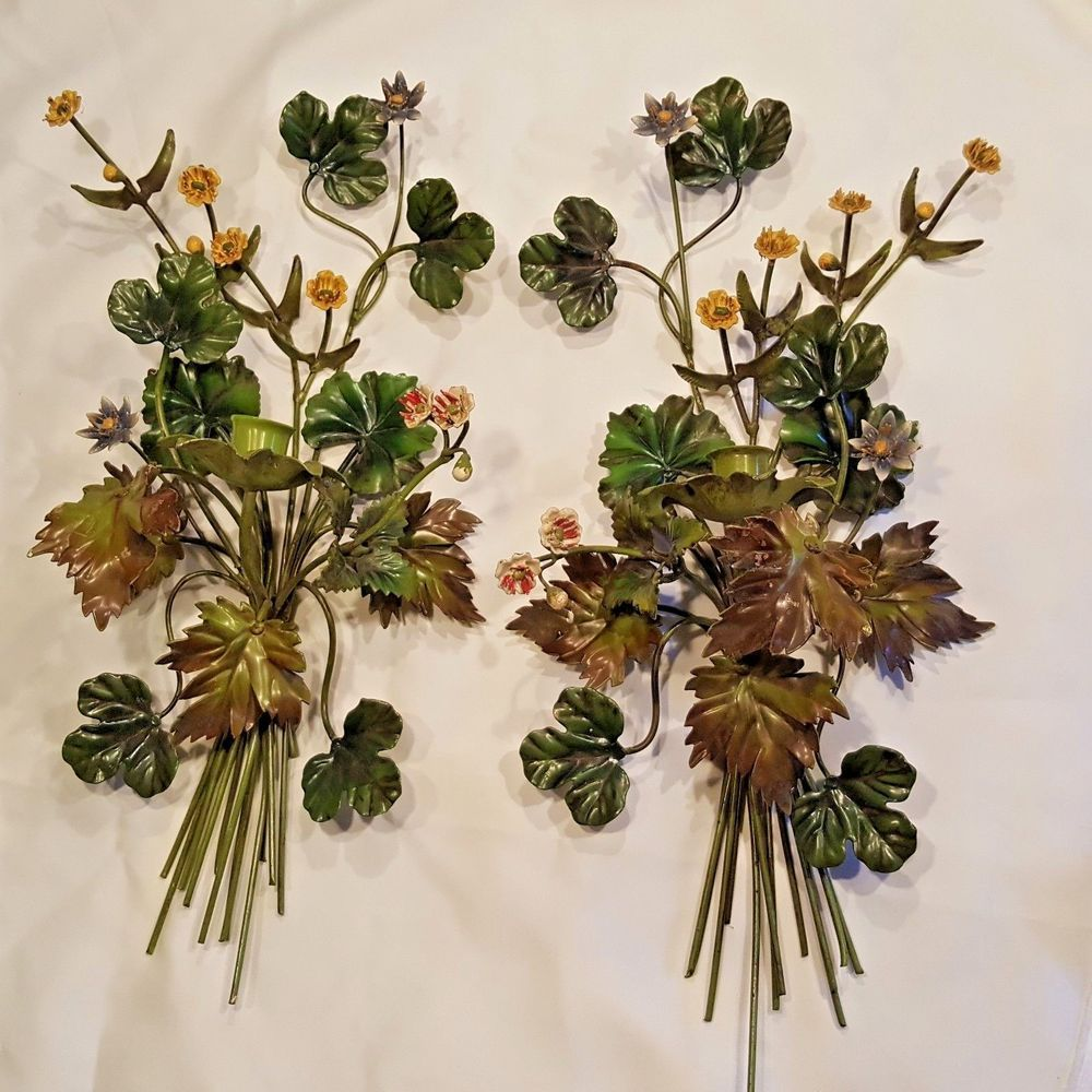 Wall Sconces That Hold Flowers: Tole Wildflower Flower Candleholder Wall Sconce Painted