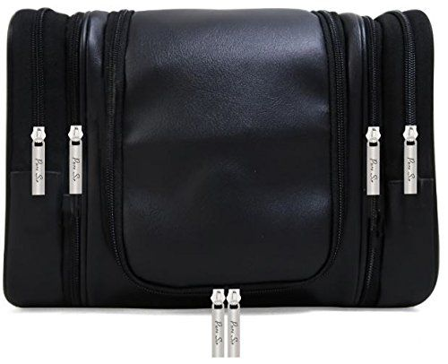 8b44a5043c4d Pure Sir 4-IN-1 Mens Leather Hanging Travel Toiletry Bag for Your Toiletries    Shaving Essentials w  4 TSA Approved Travel Bottles or Cosmetic Kit