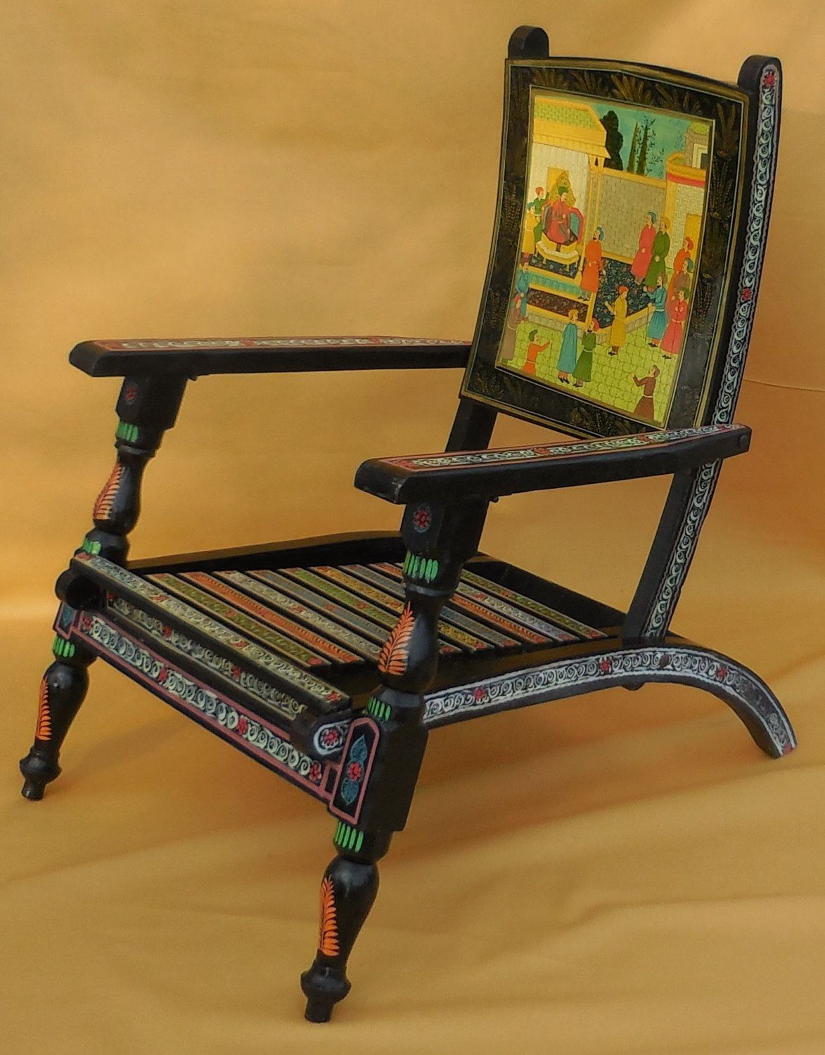 Folding Chair India Swivel Brown Utterly Stunning Vintage Indian Hand Painted Wood