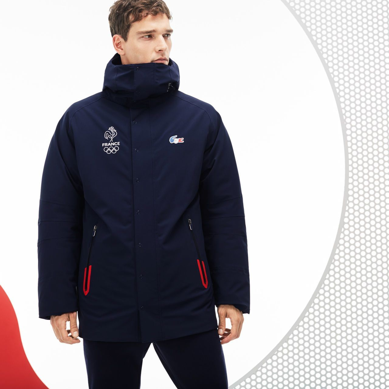 Enduite Parka Lacoste Collection France Sport Technique Olympique 7gfb6y