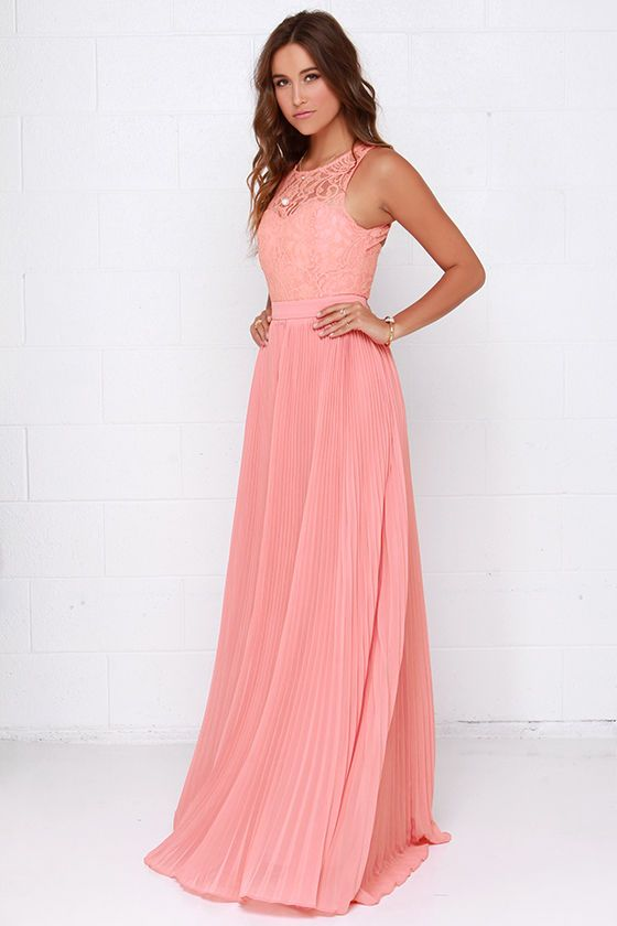 Say You Will Peach Lace Maxi Dress | Vestido de sherri hill, Sherri ...