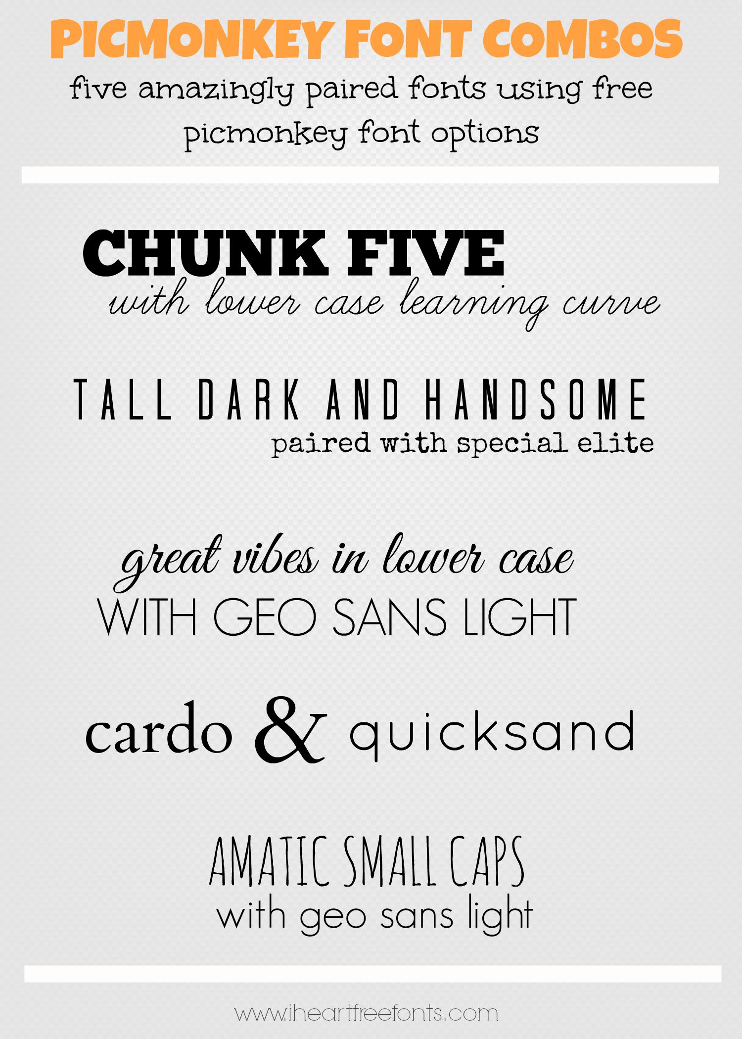 Fantastic & Free Picmonkey Font Combinations | Free Great