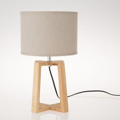 design tischlampe tischleuchte mit holzfu f r e14 lampe leuchte modern. Black Bedroom Furniture Sets. Home Design Ideas