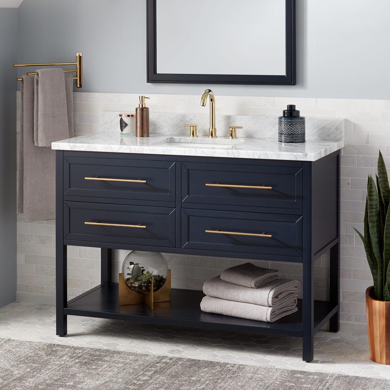 48 Robertson Mahogany Console Vanity For Rectangular Undermount Sink Midnight Navy Blue B Bathroom Vanity Units Blue Bathroom Vessel Sink Vanity