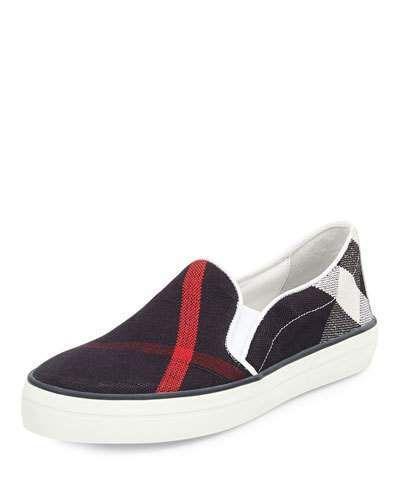 Burberry Gauden Check Canvas Skate Sneaker, Navy Check - $295.00