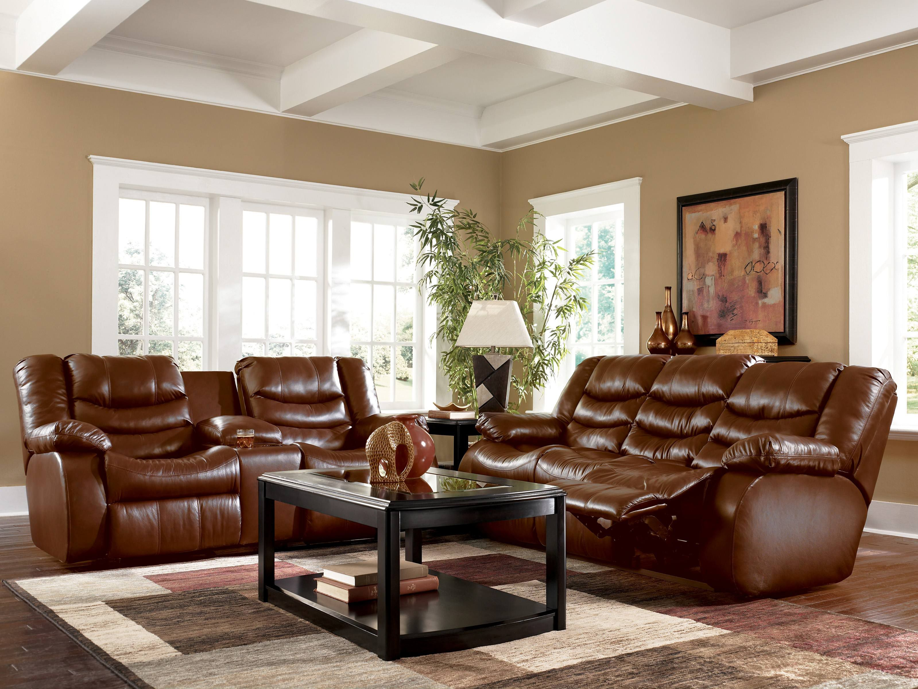 living room with brown couches - i like the white around the
