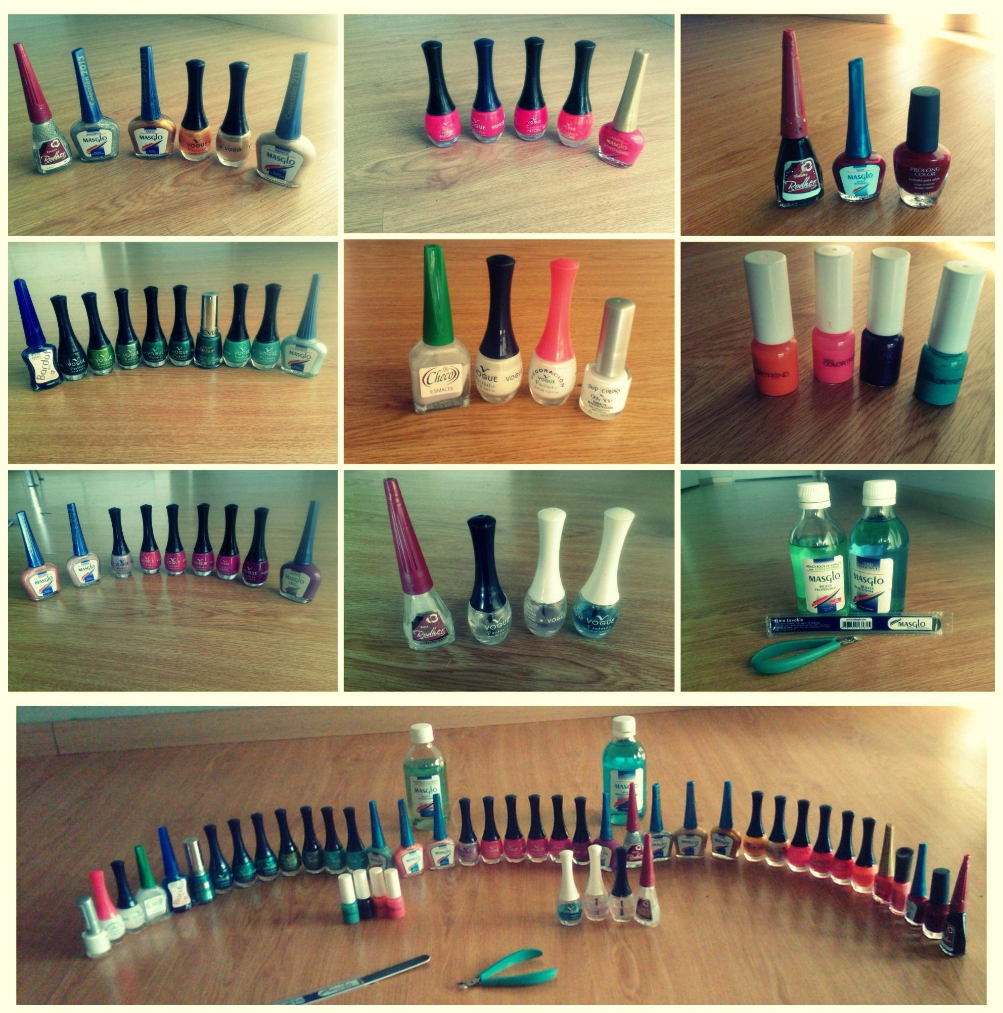 Estos son los colores de esmalte y algunos instrumentos con los que trabajamos