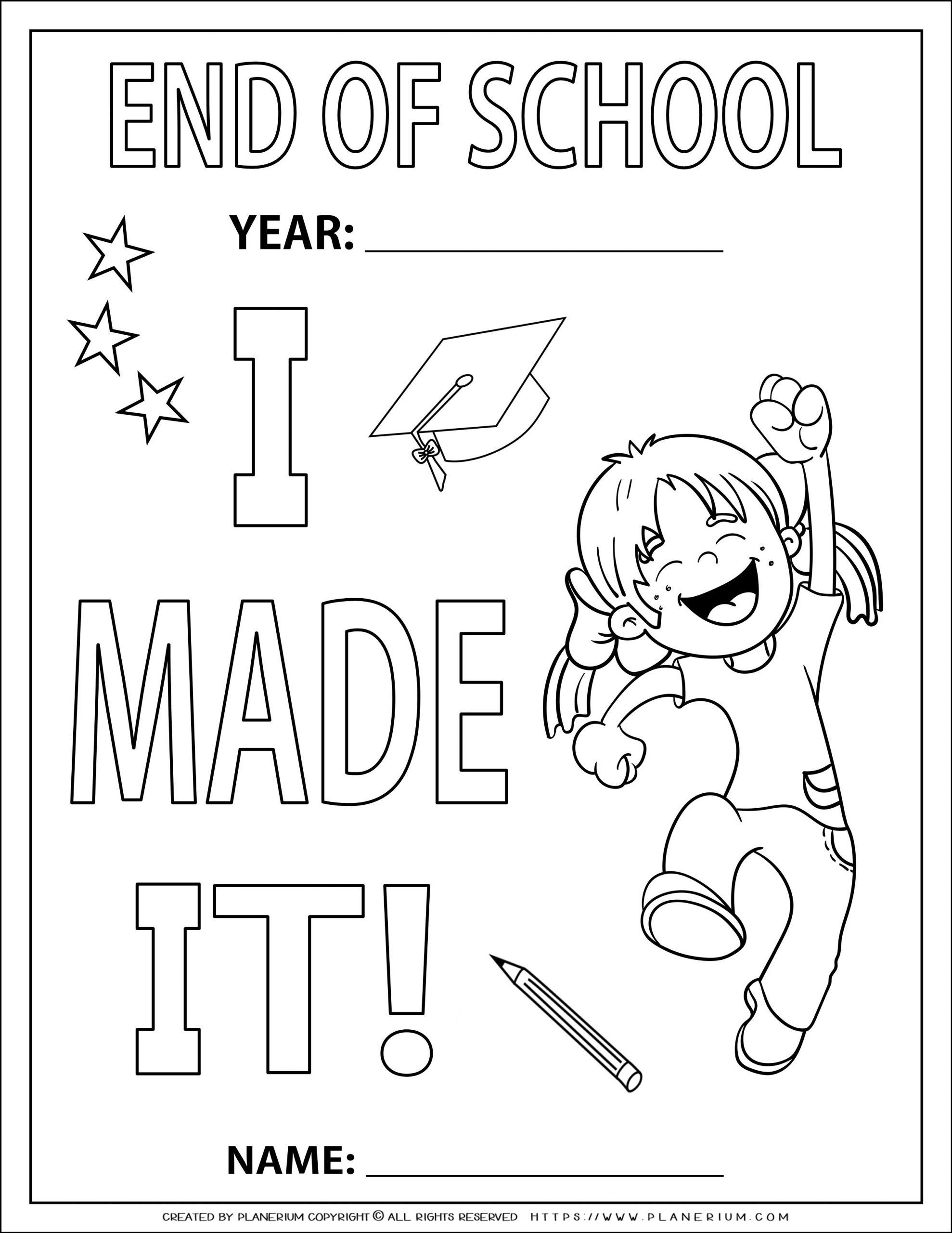 End Of Year Coloring Page I Made It For A Girl Planerium School Coloring Pages Coloring Pages First Grade Teachers [ 2560 x 1978 Pixel ]