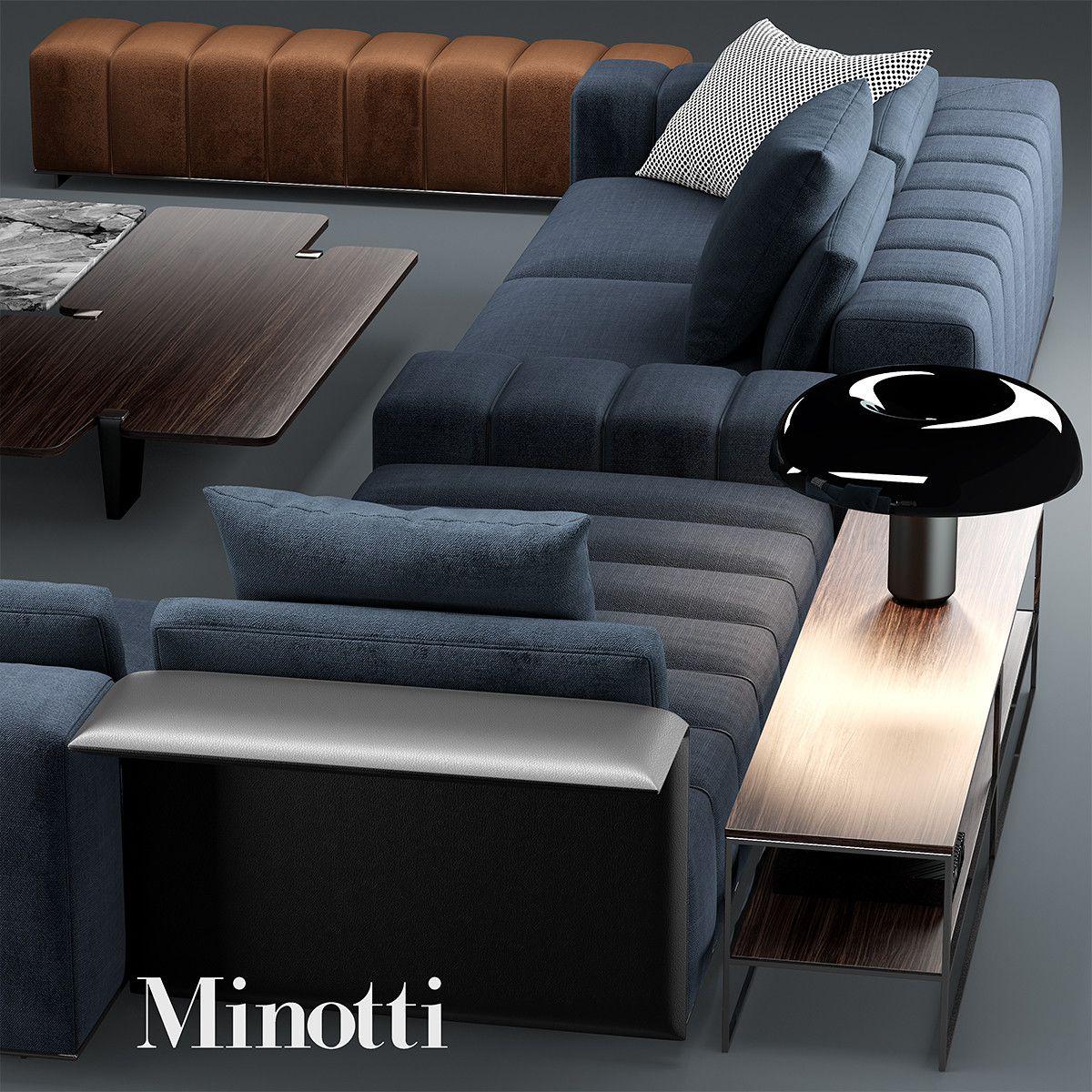 3d Sofa Minotti Freeman Model Living Room Sofa Design