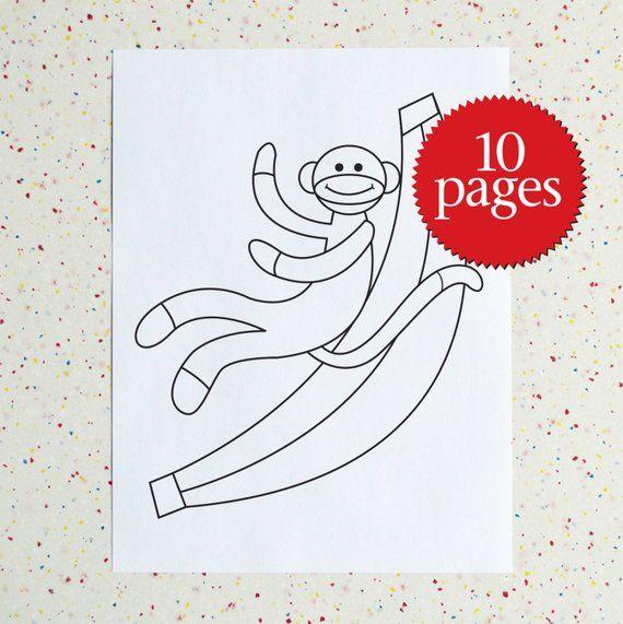 Colouring Book Sock Monkey Printable Pdf Downloadable Pdf