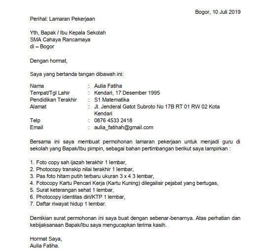 Download 5 Contoh Surat Lamaran Kerja Guru Sma Doc Pdf Di 2021 Guru Kepala Sekolah Surat