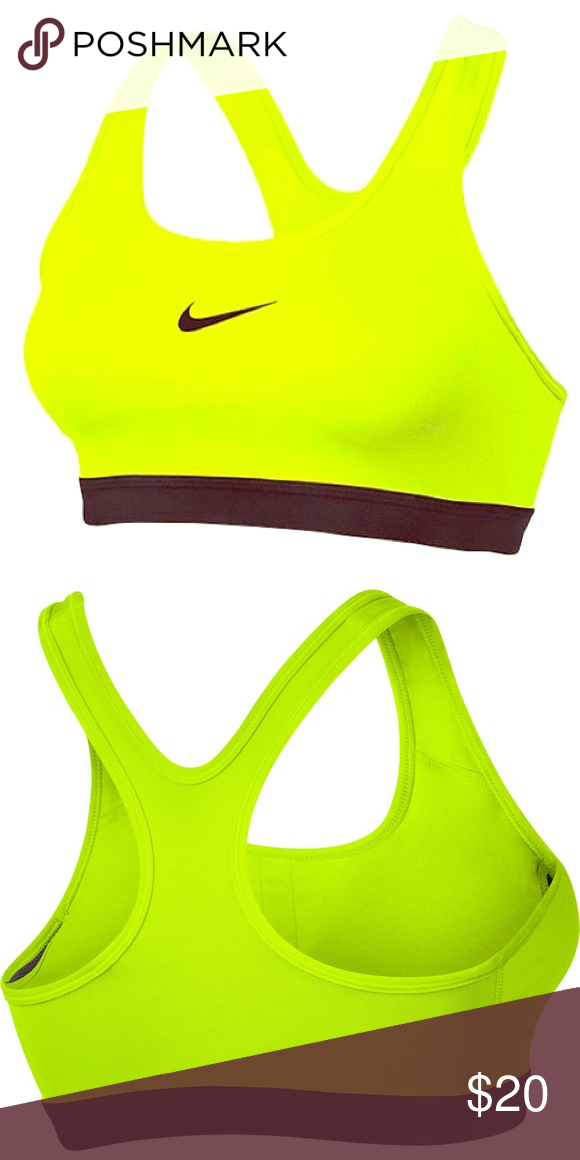 95926a21a76b4 NWOT Nike Pro 360 Support Neon Yellow Sports Bra Dri fit Nike Pro sports bra .