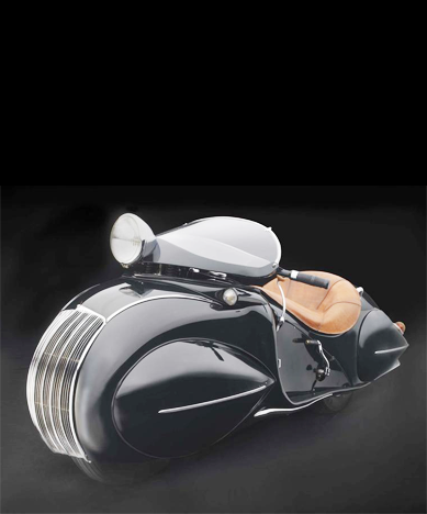 KJ Streamline Motorcycle, c. 1930 Henderson Motorcycle Co., American  Designer, O. Ray Courtney,
